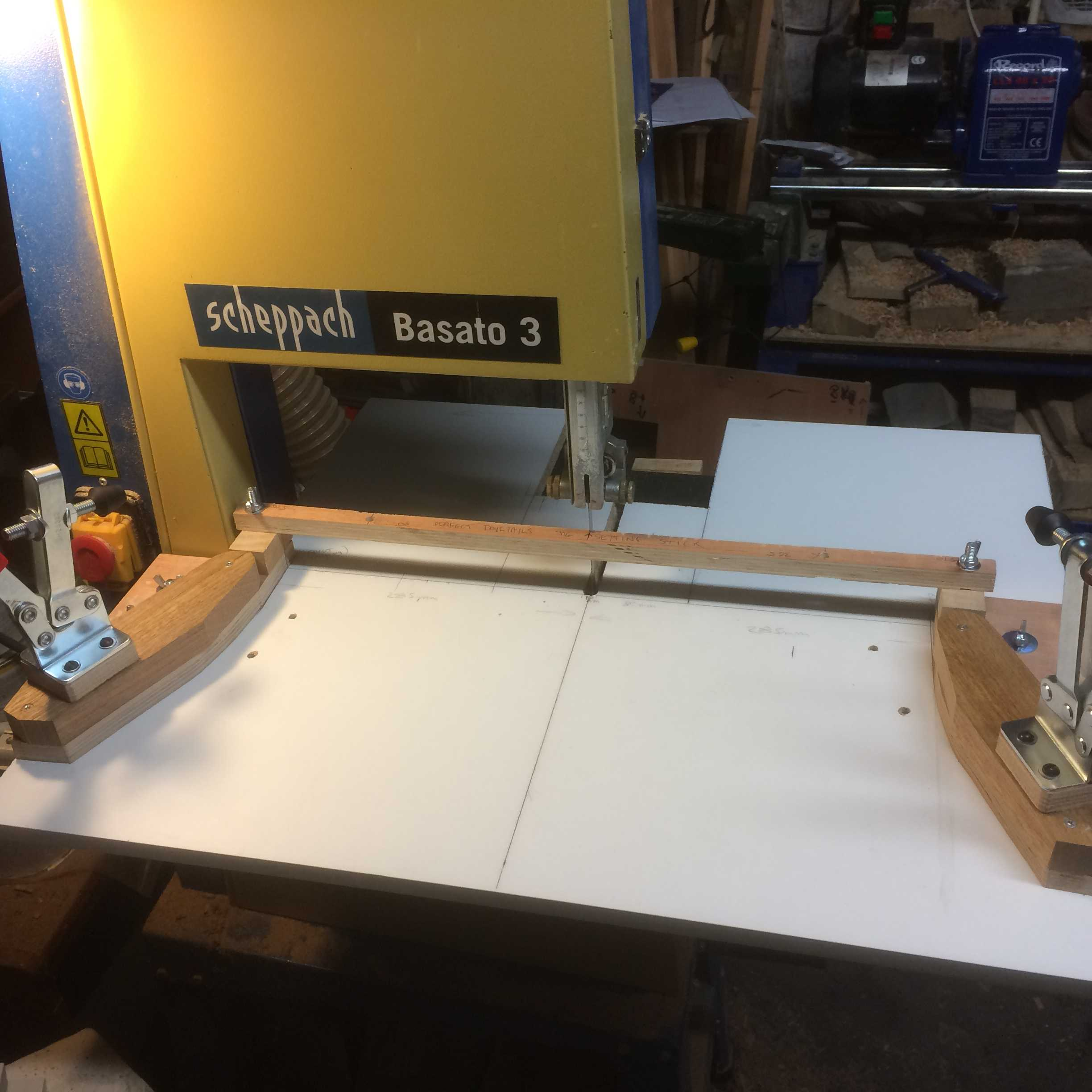 Finished jig base with set-up